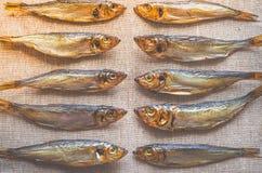 Fische der geräucherten Heringe Köstliche geräucherte Fische auf der Leinwand Stockbilder