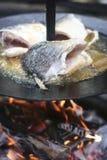 Fische, die auf geöffnetem Feuer kochen Stockfotografie