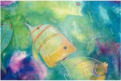 Fische, die in Mischmedia spielen Lizenzfreie Stockfotografie