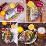 Fische dorado gedient mit Zitrone und Feigen Glas Bier Lebensmittelcollage Lizenzfreie Stockfotos