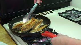 Fische durch Öl in der Wanne braten, gebraten in der Bratpfanne mit Heißöl, stock footage