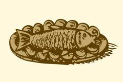 Fische in einer Platte mit Zitrone Blumenhintergrund mit Gras stock abbildung