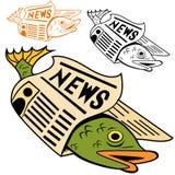 Fische eingewickelt in der Zeitung Stockbilder
