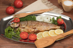 Fische gebacken in der Folie auf einem Behälter Lizenzfreie Stockfotos