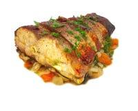 Fische gebacken mit Gemüse Stockfoto