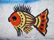 Fische gemalt auf Wand Stockfotos