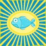 Fische Grunge blaue gestreifte Karte Stockbild