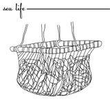 Fische, Meerespflanzen, Luftblasen Die Fische im Netz Ursprüngliche gezeichnete Illustration des Gekritzels Hand Entwürfe, Vektor Lizenzfreies Stockbild