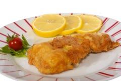 Fische Schnitzel mit Zitrone Stockbild