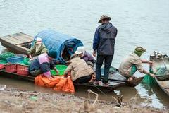 Fische sortieren und verkaufend Lizenzfreies Stockbild
