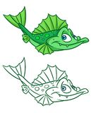 Fische trumpfen grüne Karikatur Illustrationen Stockfotos