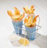 Fische u. Chips stockbild