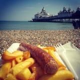 Fische u. Chips in Eastbourne Stockbild