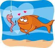 Fische und Köder in der Liebe lizenzfreie stockbilder