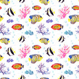 Fische und Muschel Wiederholen des nahtlosen Musters watercolor Lizenzfreies Stockbild