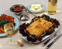Fische, Veggies und Wein Stockbild