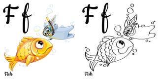 Fische Vektoralphabetbuchstabe F, Färbungsseite Lizenzfreies Stockbild