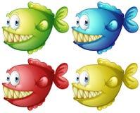 Fische in vier verschiedenen Farben Stockfotografie