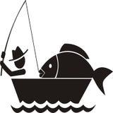 Fischen erhält großen Fischikonenvektor vektor abbildung