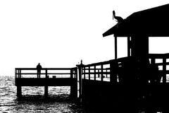 Fischen-Pier 2 B&W Lizenzfreies Stockbild