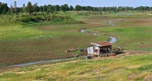 Fischen Sie Dock auf trockenem Fluss und ausgetrocknetem Boden der Dürre Lizenzfreie Stockfotografie