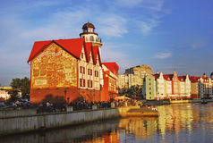 Fischen Sie Dorfarchitekturkomplex in Kaliningrad am Abend Stockbilder