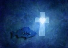 Fischen Sie mit Ichtys-Zeichenschwimmen im blauen Meer und ein christliches Kreuz mit ein Herz Symbolisierungsgöttern lieben zuze vektor abbildung