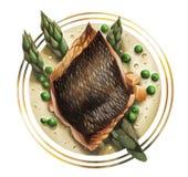 Fischen Sie mit Spargel, Karottenwürfeln und Buttersoße lizenzfreie abbildung