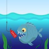 Fischen Sie unter Wasser auf dem Haken mit Verkäufen eines Aufklebers Geschäftskonzept und -verkäufe Lizenzfreie Stockfotos