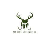 Fischen- und Jagdillustration mit Rotwildhörnern, Tatze des Bären Stockfotos