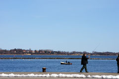 Fischen und Ruderboot Stockfoto