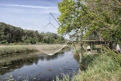 Fischenhütte auf der Lagune Stockfoto
