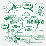Fischenikonen eingestellt Lizenzfreies Stockbild