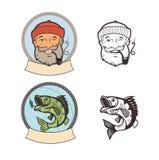 Fischenlogosatz Fischen Sie auf einem Fischereihaken und einem Seemann mit Rohr Lizenzfreie Stockfotografie