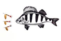 Fischenmetallköder mit Zeichnung fischen auf dem weißen Hintergrund Stockfotos