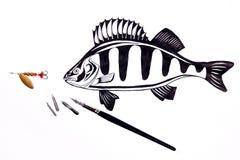 Fischenmetallköder und -Füllfederhalter mit Tintenzeichnung fischen Lizenzfreies Stockbild