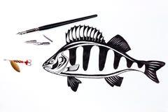 Fischenmetallköder und -Füllfederhalter mit Tintenzeichnung fischen Stockfotografie