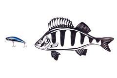 Fischenplastikköder mit Zeichnungsfischen auf dem weißen Hintergrund Lizenzfreies Stockfoto