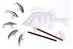 Fischenplastikköder mit Zeichnungsfischen Graphitbleistifte und äh Stockbild