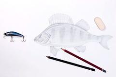 Fischenplastikköder mit Zeichnungsfischen Graphitbleistifte und -ära Stockfotos