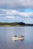 Fischer auf Blithfield-Reservoir, Großbritannien Lizenzfreies Stockbild