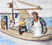 Fischer auf dem Boot Stockbild