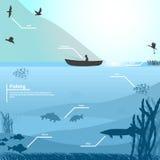 Fischer auf dem Boot fischt auf dem See lizenzfreie abbildung