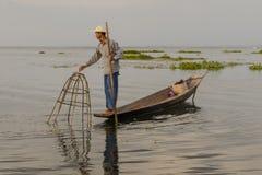Fischer auf dem Inle See auf Myanmar Stockfotografie