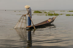 Fischer auf dem Inle See auf Myanmar Stockfotos