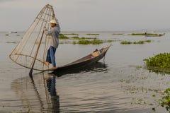 Fischer auf dem Inle See auf Myanmar Lizenzfreie Stockbilder
