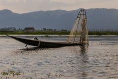 Fischer auf dem Inle See auf Myanmar Stockfoto