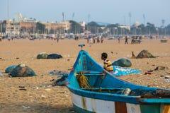 Fischer auf dem Strand Marina Beach Stockfoto