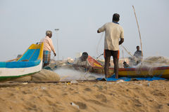 Fischer auf dem Strand Marina Beach Stockfotografie