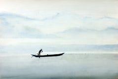 Fischer auf einem Boot stock abbildung